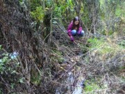 Lara plays at a nearby well